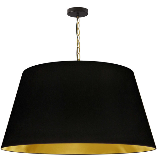 Dainolite Lighting  BRY-XL-AGB-698 1 Light Brynn Extra Large Pendant, Black/Gold Shade, Aged Brass