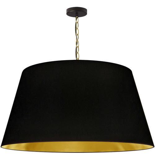 Dainolite Lighting  BRY-XL-AGB-698 1 Light Brynn Extra Large Pendant, Black/Gold Shade, Aged Brass