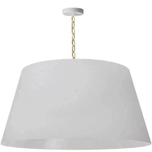 Dainolite Lighting  BRY-XL-AGB-790 1 Light Brynn Extra Large Pendant, White Shade, Aged Brass