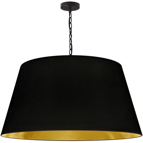 Dainolite Lighting  BRY-XL-BK-698 1 Light Brynn X-Large Pendant, Black/Gold Shade, Black