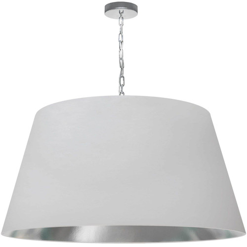 Dainolite Lighting  BRY-XL-PC-691 1 Light Brynn X-Large Pendant, White/Silver Shade, Polished Chrome