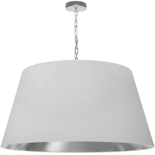Dainolite Lighting  BRY-XL-PC-691 1 Light Brynn X-Large Pendant, White/Silver Shade, Polished Chrome