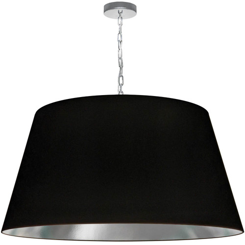 Dainolite Lighting  BRY-XL-PC-697 1 Light Brynn X-Large Pendant, Black/Silver Shade, Polished Chrome