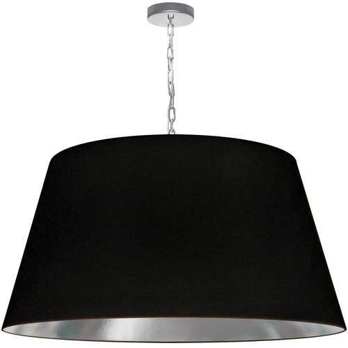 Dainolite Lighting  BRY-XL-PC-697 1 Light Brynn X-Large Pendant, Black/Silver Shade, Polished Chrome