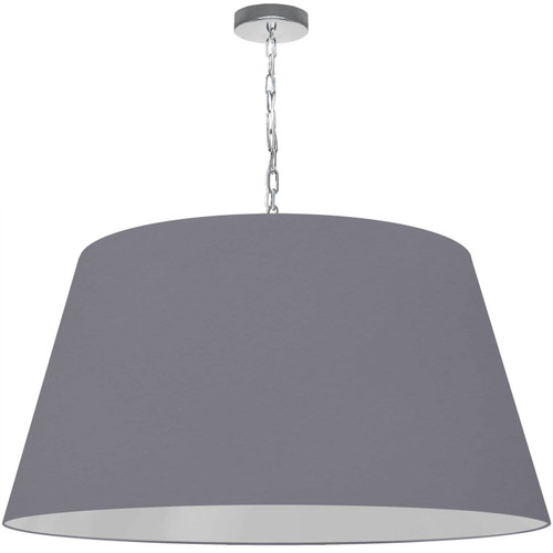 Dainolite Lighting  BRY-XL-PC-835 1 Light Brynn X-Large Pendant, Grey Shade, Polished Chrome