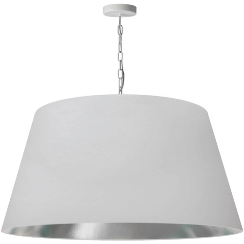Dainolite Lighting  BRY-XL-WH-691 1 Light Brynn Extra Large Pendant, White/Silver Shade, White