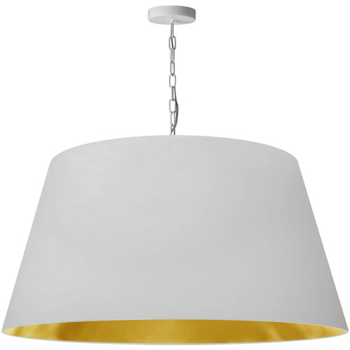 Dainolite Lighting  BRY-XL-WH-692 1 Light Brynn X-Large Pendant, White/Gold Shade, White