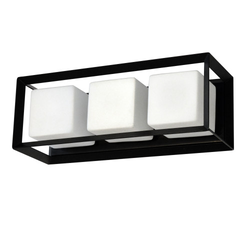 Dainolite Lighting  BTC-163W-MB 3 Light Halogen Vanity, Matte Black with White Glass