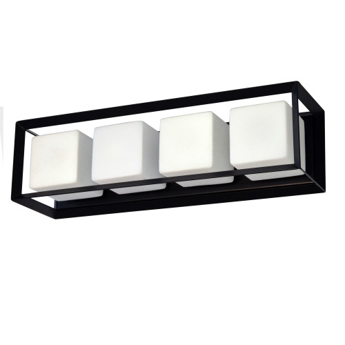 Dainolite Lighting  BTC-214W-MB 4 Light Halogen Vanity, Matte Black with White Glass