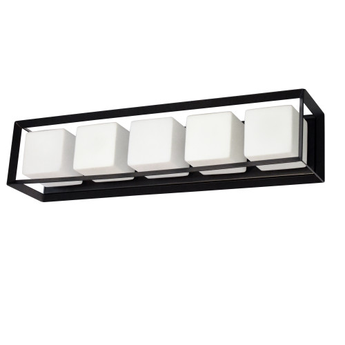 Dainolite Lighting  BTC-265W-MB 5 Light Halogen Vanity, Matte Black with White Glass