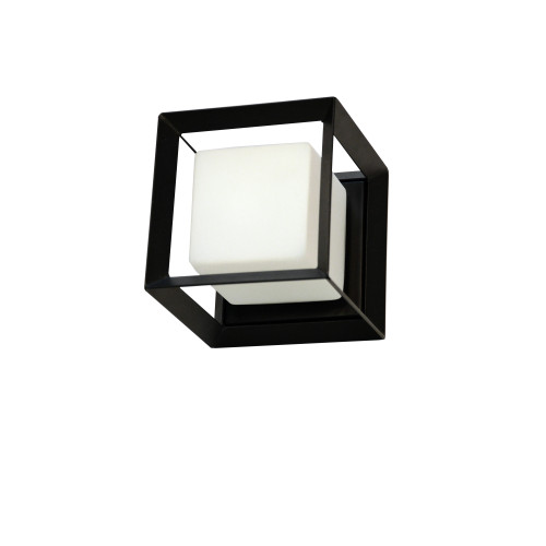 Dainolite Lighting  BTC-61W-MB 1 Light Halogen Wall Sconce, Matte Black with White Glass