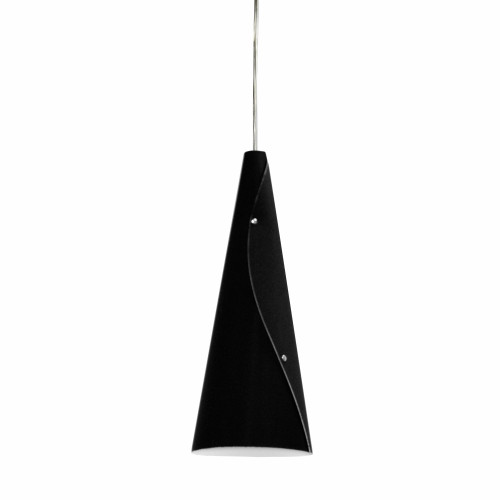 Dainolite Lighting  BUG-1P-BK 1 Light Incandescent Bugle Pendant JTones Black and Polished Chrome
