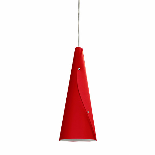 Dainolite Lighting  BUG-1P-RD 1 Light Incandescent Bugle Pendant JTones Red and Polished Chrome