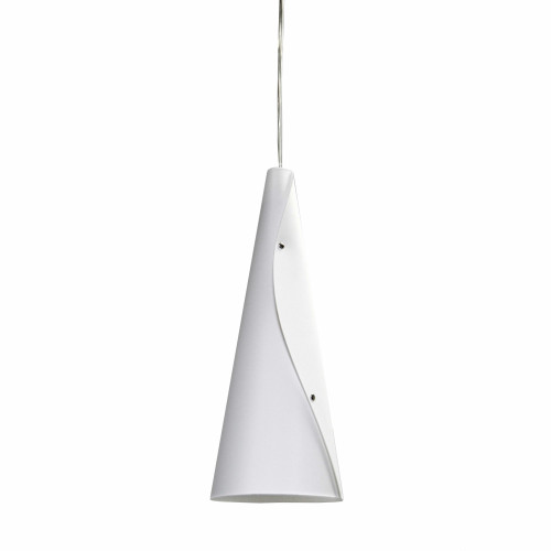 Dainolite Lighting  BUG-1P-WH 1 Light Incandescent Bugle Pendant JTones White and Polished Chrome