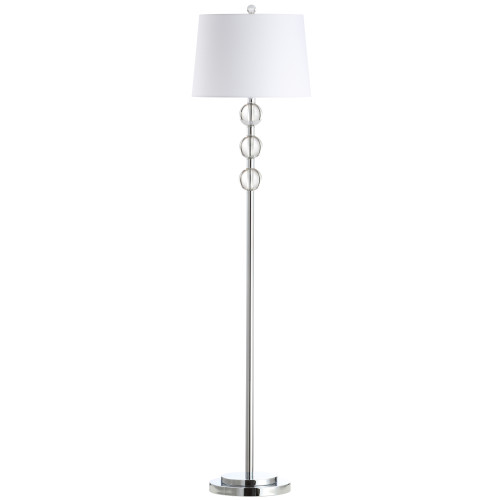 Dainolite Lighting  C182F-PC 1 Light Incandescent Crystal Floor Lamp, Polished Chrome with White Shade
