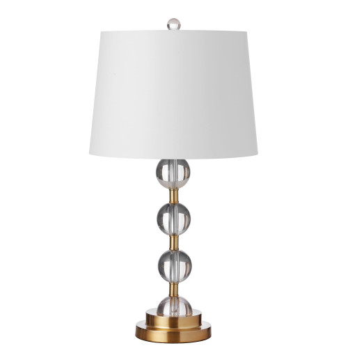 Dainolite Lighting  C182T-AGB 1 Light Incandescent Crystal Table Lamp Aged Bronze Finish with White Shade