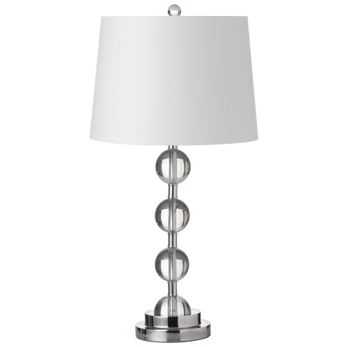 Dainolite Lighting  C182T-PC 1 Light Incandescent Crystal Table Lamp Polished Chrome Finish with White Shade