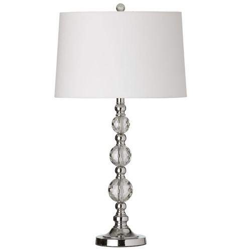 Dainolite Lighting  C33T-PC 1 Light Crystal Table Lamp, Polished Chrome, White Shade