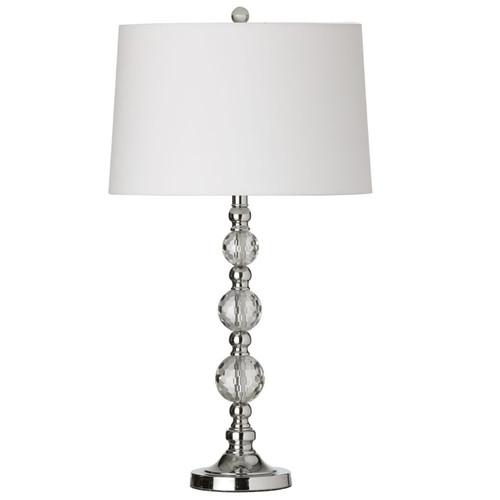Dainolite Lighting  C33T-PC 1 Light Crystal Table Lamp, Polished Chrome, White Shade