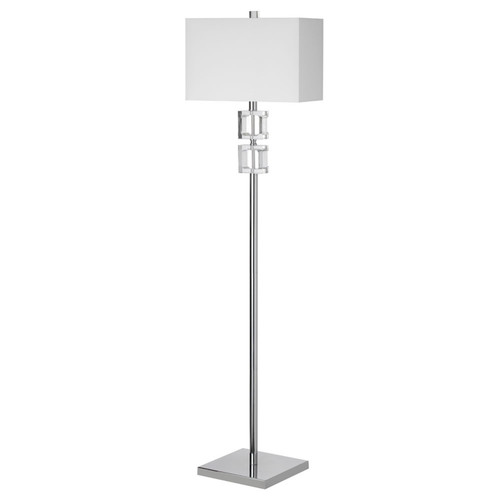 Dainolite Lighting  C35F-PC 1 Light Crystal Floor Lamp, Polished Chrome, White Shade