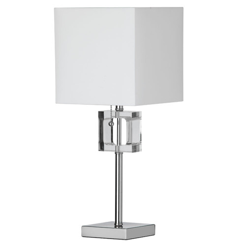 Dainolite Lighting  C35T-PC 1 Light Crystal Table Lamp, Polished Chrome, White Shade