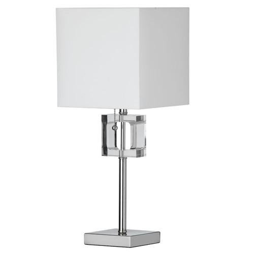 Dainolite Lighting  C35T-PC 1 Light Crystal Table Lamp, Polished Chrome, White Shade