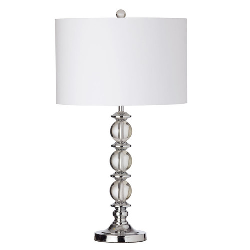 Dainolite Lighting  C39T-PC 1 Light Crystal Table Lamp, Polished Chrome, White Shade