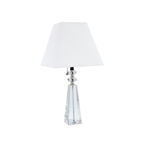 Dainolite Lighting  C503T-PC 1 Light Crystal Table Lamp, Polished Chrome Finish, White Sharp Corner Square Shade