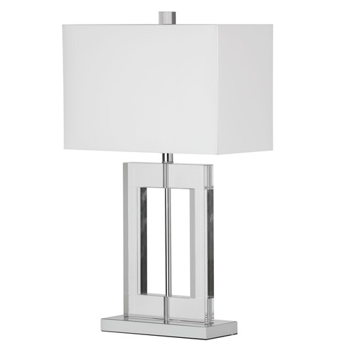 Dainolite Lighting  C52T-PC 1 Light Crystal Table Lamp, Polished Chrome, White Shade