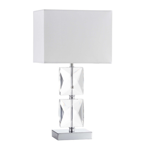 Dainolite Lighting  C96T-PC 1 Light Incandescent Crystal Table Lamp Polished Chrome Finish Rolled Edge Top and Bottom Virgin White Shade