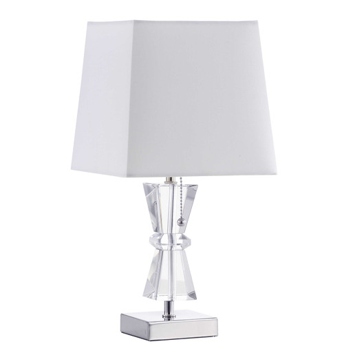 Dainolite Lighting  C97T-PC 1 Light Incandescent Crystal Table Lamp Polished Chrome Finish Rolled Edge Top and Bottom Virgin White Shade