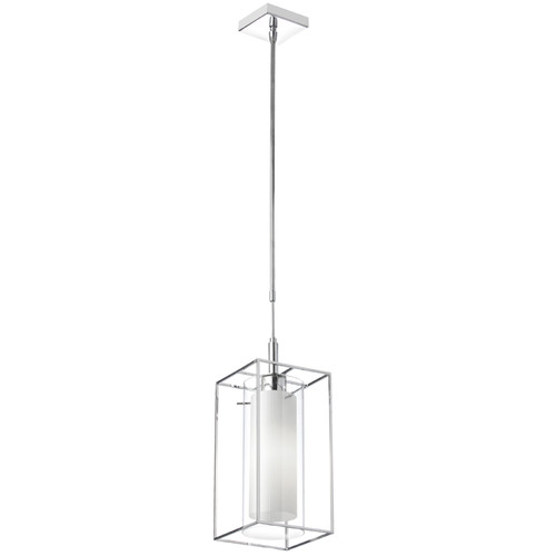 Dainolite Lighting  CBE-61P-PC 1 Light Pendant, Frosted Glass Inside, Rectangular Metal Frame
