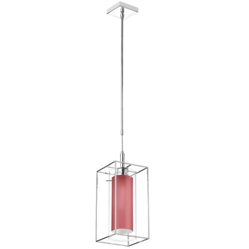Dainolite Lighting  CBE-61P-PC-795 1 Light Pendant, Clear Glass with Red Fabric Shade, Rectangular Metal Frame