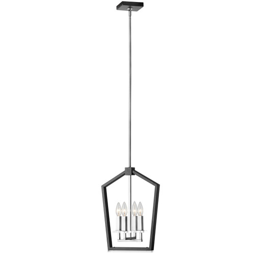 Dainolite Lighting  CDA-144C-BPC 4 Light Chandelier, Black & Polished Chrome Finish