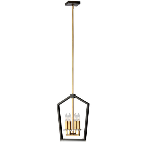 Dainolite Lighting  CDA-144C-BVB 4 Light Chandelier, Black & Vintage Bronze Finish