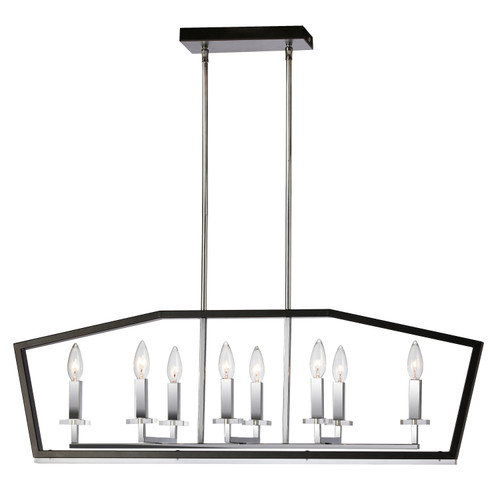 Dainolite Lighting  CDA-378HC-BPC 8 Light Horizontal Chandelier, Black & Polished Chrome Finish