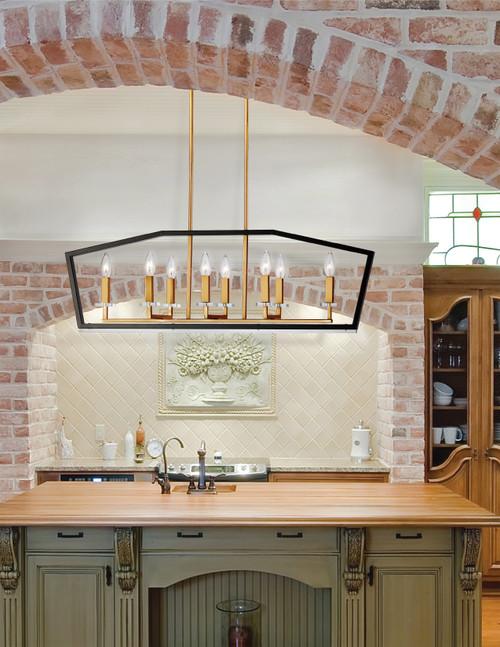 Dainolite Lighting  CDA-378HC-BVB 8 Light Horizontal Chandelier, Black & Vintage Bronze Finish