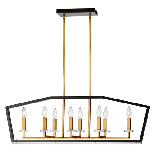 Dainolite Lighting  CDA-378HC-BVB 8 Light Horizontal Chandelier, Black & Vintage Bronze Finish