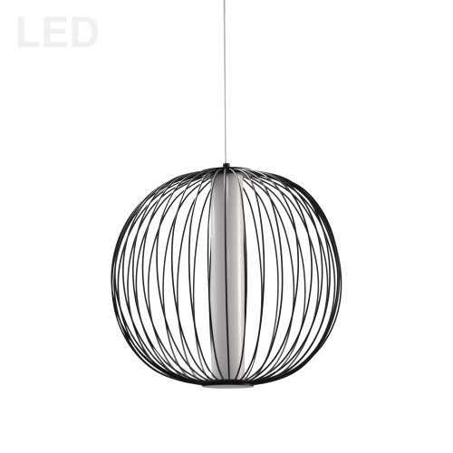 Dainolite Lighting  CHR-161LEDP-MB 20W LED Pendant, Matte Black with White Acrylic Diffuser