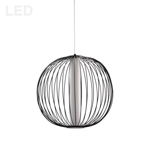 Dainolite Lighting  CHR-161LEDP-MB 20W LED Pendant, Matte Black with White Acrylic Diffuser