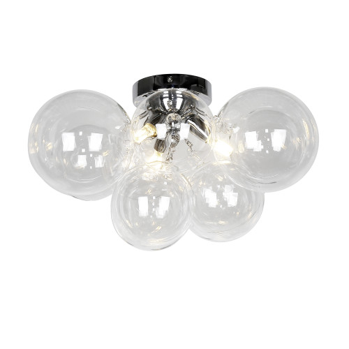 Dainolite Lighting  CMT-143FH-CLR-PC 3 Light Halogen Flush Mount, Polished Chrome with Clear Glass
