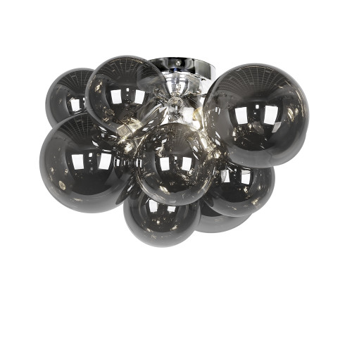 Dainolite Lighting  CMT-143FH-SM-PC 3 Light Halogen Flush Mount, Polished Chrome with Smoked Glass