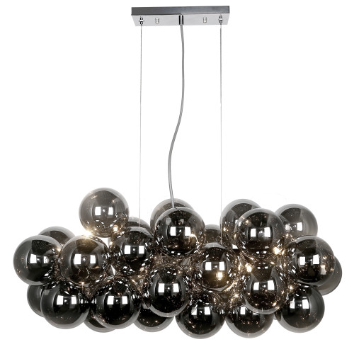 Dainolite Lighting  CMT-418HP-SM-PC 10 Light Halogen Horizontal Pendant, Polished Chrome with Smoked Glass
