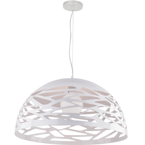 Dainolite Lighting  COR-201P-WH 1 Light Pendant, Matte White Finish