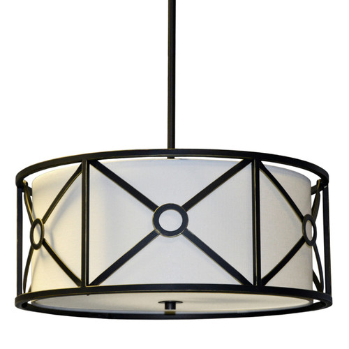 Dainolite Lighting  CRU-204LP-VOB 4 Light Steel & Fabric Pendant , Vintage Oiled Bronze Finish, Ivory Shade