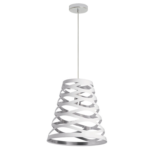 Dainolite Lighting  CUT14-691 1 Light Pendant with White on Silver Shade