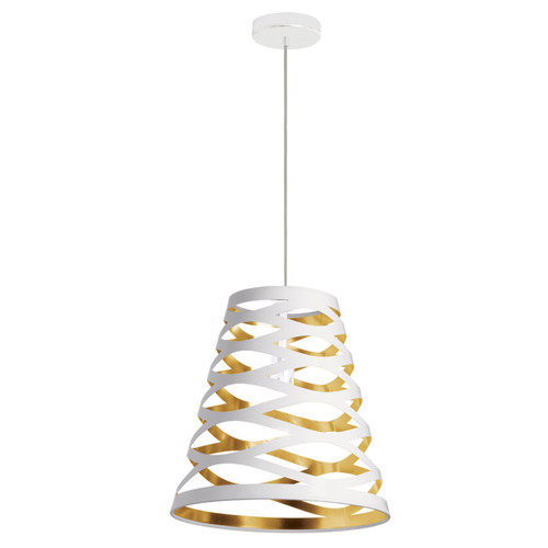 Dainolite Lighting  CUT14-692 1 Light Pendant with White on Gold Shade