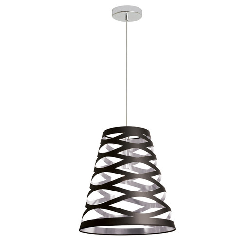 Dainolite Lighting  CUT14-697 1 Light Pendant with Black on Silver Shade