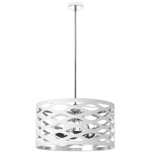 Dainolite Lighting  CUT-214P-691 4 Light Pendant, Polished Chrome, Cut Out Drum Shade, White On Silver