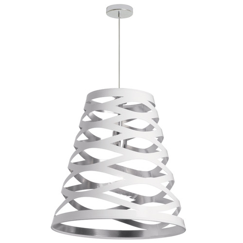 Dainolite Lighting  CUT22-691 1 Light Pendant with White on Silver Shade
